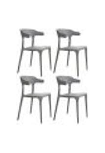 Kit 4 Cadeiras Decorativas Para Sala De Jantar Viena F01 Cinza - Mpozenato