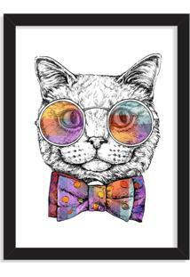 Quadro Decorativo Gato Com Gravata Borboleta Preto - Médio