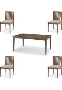 Conjunto Mesa Jantar Mule Tampo Verniz Avela 180Cm + 4 Cadeiras Brisa Encosto Ripado - 60511 - Sun House