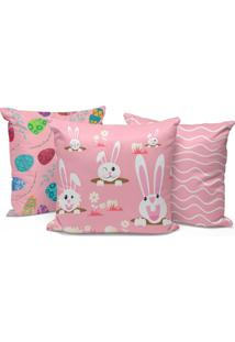Kit 3 Capas Para Almofadas Happy Easter Cute Pink 45X45Cm.