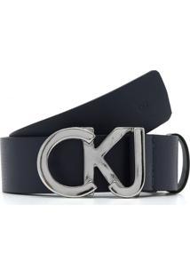 Cinto Couro Calvin Klein Textura Azul-Marinho
