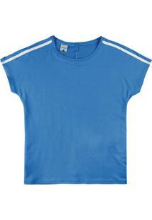 Blusa Azul Ampla Em Moletinho De Viscose