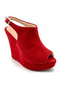 Sandália Anabela Salto Alto Em Nobucado Vermelho Claro