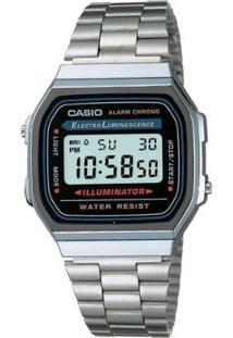 Relógio Feminino Casio Vintage Digital Fashion A168Wa 1Wdf - Unissex-Prata