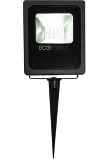 Refletor Led 10W Bivolt Verde Com Estaca Ecoforce Preto