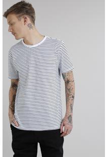 Camiseta Masculina Básica Listrada Manga Curta Gola Careca Branca