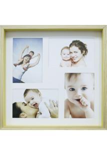 Quadro Para Fotos Wood Natural E Amarelo 30X30Cm