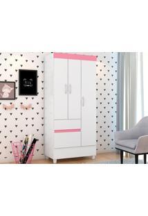 Guarda-Roupa Compacto 3 Portas Wind Branco/Rosa Flex -Lc Móveis