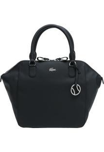 Bolsa Texturizada Com Bag Charm - Preta - 32X43X14,5Lacoste