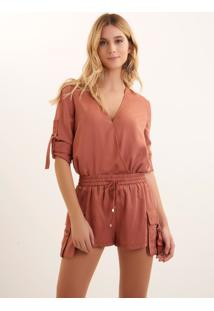 Body Bobô Peach Alfaiataria Laranja Feminino Body Peach-Light Orange-G