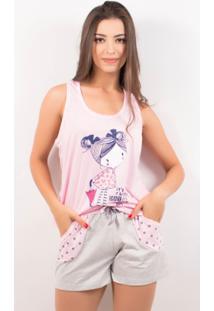 Pijama Short Doll Feminino Tal Mãe - Feminino-Rosa