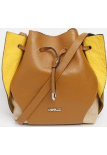 Bolsa Com Recortes - Marrom & Amarela - 28X42X14Cmgriffazzi