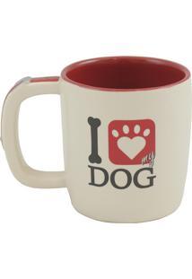 Caneca Pet Dog 350Ml Cerâmica Creme E Vermelho Mondoceram