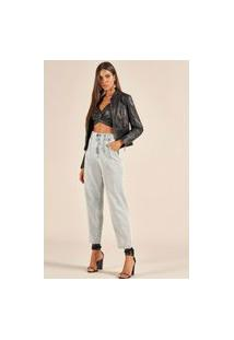 Calça Jeans Cindy Acostamento Cintura Alta Azul Tam. 42