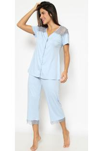 Pijama Com Renda- Azul & Preto- Daniela Tombinidaniela Tombini