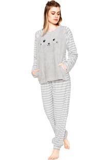 Pijama Any Any Funy Bear Cinza/Branco