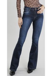 381fcf469 ... Calça Jeans Feminina Sawary Super Flare Azul Escuro