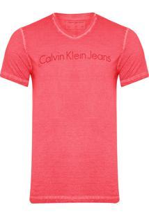 Camiseta Masculina Manga Curta Institucional Tinto Seco - Vermelho