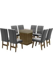 Conjunto De Mesa Para Sala De Jantar Com 8 Cadeiras Saint Louis-Dobue - Castanho / Grafite