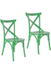 Kit 2 Cadeiras Paris Estilo Vintage Em Madeira Maciça Pintura Laca Verde