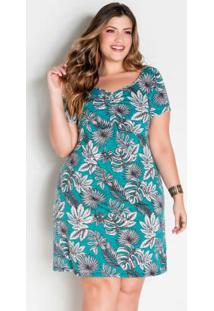 Vestido Folhagem Plus Size Com Franzido