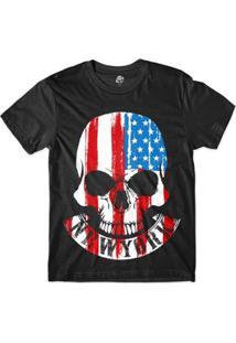 Camiseta Bsc Caveira New York Eua Sublimada Masculina - Masculino-Preto
