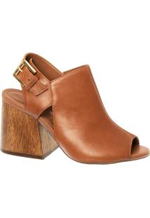 Sandal Boot Em Couro Sela Com Salto Bloco Madeira