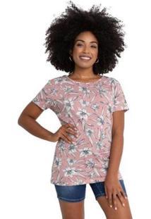 Blusa Crepe Floral Rosé - Feminino