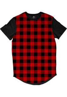 Camiseta Bsc Longline Xadrez Masculina - Masculino-Vermelho