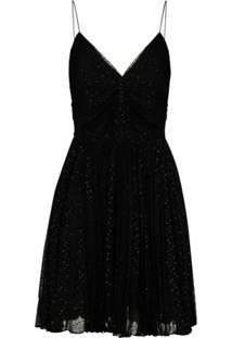 Saint Laurent Vestido Com Efeito De Brilho - Preto