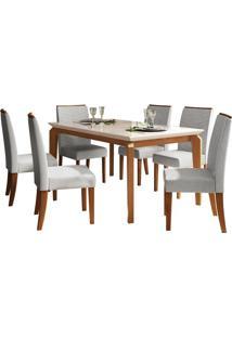 Sala De Jantar Rouge Com 6 Cadeiras Carvalho Americano/Off White