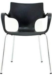 Cadeira Jim Base Fixa Cromada Cor Preto - 15014 - Sun House