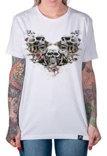 Camiseta Caveira Com Halteres Artseries Feminina - Feminino-Branco