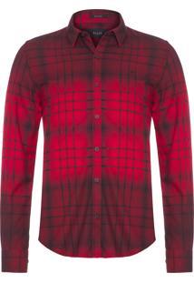 Camisa Masculina Magni Wool Touch Check - Vermelho