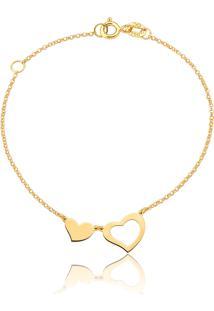 Pulseira Deouro 18K Feminina Coração Vazado,Gifts For Love-15Cm