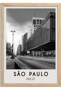 Quadro Oppen House 65X45Cm Cidades Sã£O Paulo Brasil Moldura Natural Sem Vidro - Oppen House Decora - Preto - Dafiti