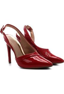 Scarpin Ramarim Chanel Recortes Feminino - Feminino-Vermelho