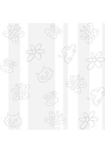 Papel Adesivo Sunset Adesivos De Parede Listras Cinza Com Desenhos - Rolo 6,00 X0,50 M