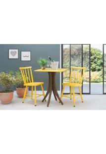 Mesa De Restaurante Quadrada Com 2 Cadeiras Juliette - Nogueira E Amarelo