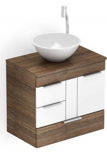 Gabinete Para Banheiro Em Mdf Com Cuba Redonda Basic 60X38Cm Wengué E Branco