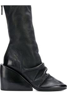 Marsèll Ankle Boot Plataforma De Couro Com Detalhe Drapeado - Preto