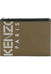 Kenzo Clutch Com Logo E Zíper - Verde