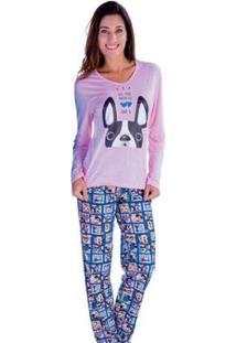 Pijama Feminino Victory Inverno Frio Longo Malha Fria - Feminino-Rosa