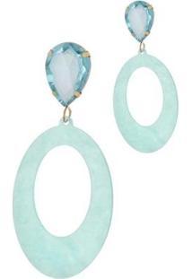 Brinco Le Diamond Acrílico Geométrico Base Cristal Tartaruga - Feminino-Azul Claro