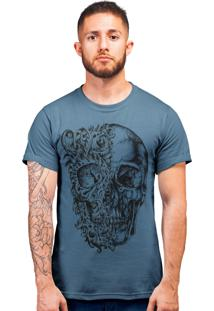 Camiseta Artseries Caveira Duas Faces Azul