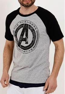 Camiseta Manga Curta Masculina Marvel Cinza/Preto