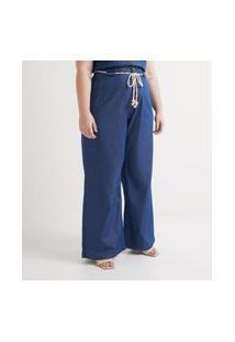 Calça Jeans Liso Pantalona Com Cinto Corda Curve & Plus Size Azul