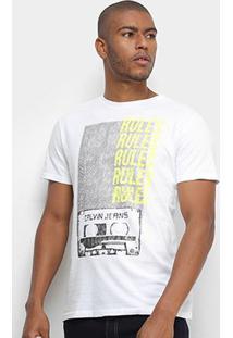 Camiseta Calvin Klein Rules Masculina - Masculino-Branco