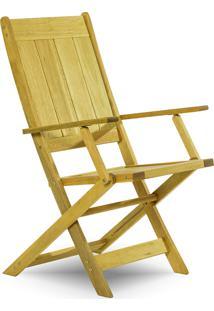 Cadeira Dobrável Gourmet De Madeira Para Piscinas Com Braços Acqualung+ Stain Amarelo