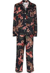 Desmond & Dempsey Pijama De Algodão Orgânico Com Estampa Soleia - Azul